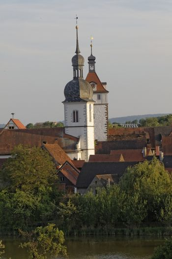 the city Prichsenstadt - Bavaria - Germany - City Tower and church - smalest city in Bavaria