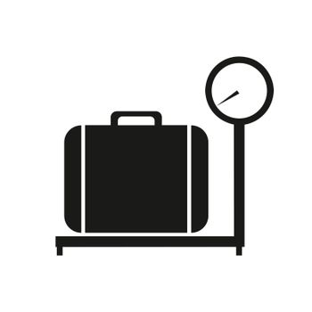 Baggage scale icon vector on white background, baggage scale trendy filled icons from Airport terminal collection.