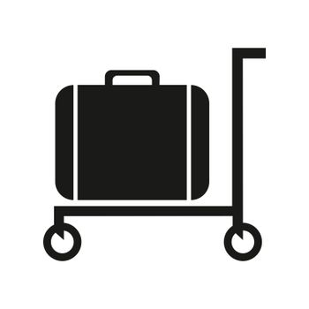 Luggage trolley solid icon. Baggage on a tray vector illustration isolated on white.