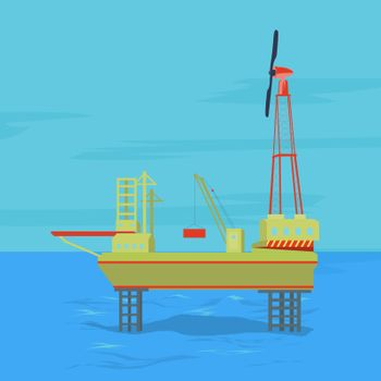 Oil and gas offshore industry with stationary platform