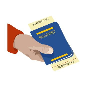Close up. man holding in his hand the passport and ticket flight. Symbol of travel and tourism. Isolated on white background.
