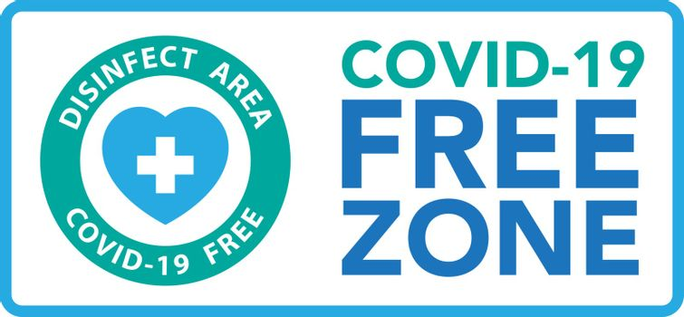 Covid free zone sign.Vector eps10