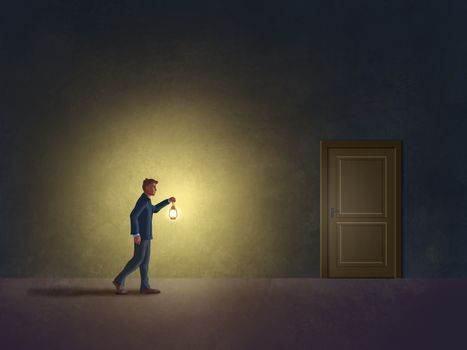 Man in the dark with a lantern, searching for an exit. Digital illustration.
