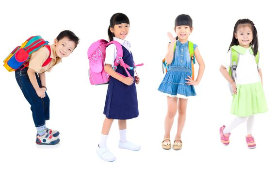 Portrait of happiness group of cute little child girls in uniform with school bag smiling  are back to school, isolated over white background.