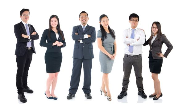 Full body collage portraits of diverse asian people and mixed age group of focused business professionals.Concept of financial, insurance and marketing business and  globalization.