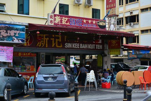 Sin Kee bah kut teh restaurant facade in Kota Kinabalu, Malaysia