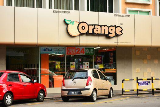 Orange Convenience Store Facade in Malaysia