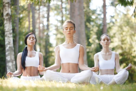 Women in white sportswear sitting in lotus position during group yoga training at park