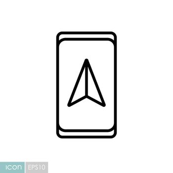 Smartphone with navigator vector icon. Navigation sign. Graph symbol for travel and tourism web site and apps design, logo, app, UI