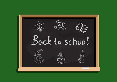 Back to school text and symbols on blackboard. Education chalkboard template