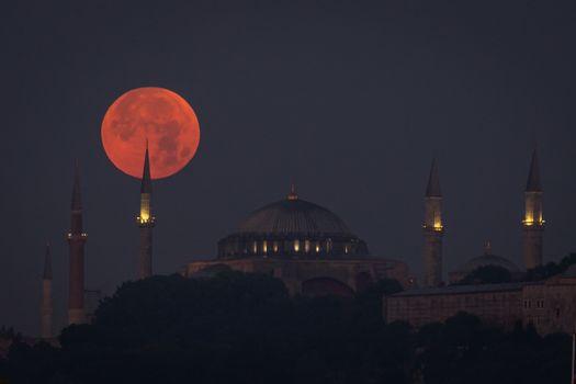 Moonset over Hagia Sophia, Istanbul City, Turkey