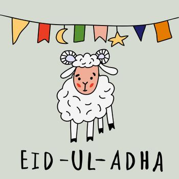 Eid ul adha greeting card with sheep, moon, star and flags, muslim community festival of sacrifice. Vector illustration in style doodle. Islamic holiday