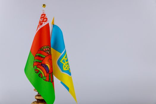 Belarusian and Ukrainian national flags. Symbol of Belarusian-Ukrainian friendship