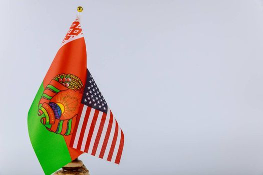 Symbol of Belarusian-American friendship Belarusian and American national flags.