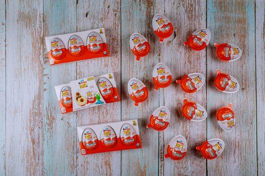 New York NY NOV 08 2019:Kinder Joy Surprise Egg Chocolate kinder Joy is a surprise egg containing chocolate and toys.