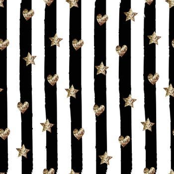 Seamless cute trendy pattern with Golden glitter stars and hearth on black hand drawn striped background. Vector design for fabric textile, wrapping paper, wallpaper, wedding, cards.