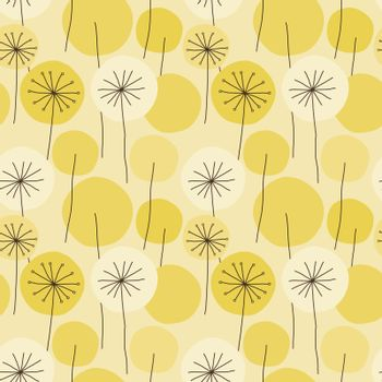 Seamless abstract floral pattern with hand drawn yellow dandelion flower circles, black outline on beige background. Vintage retro style. Vector eps10