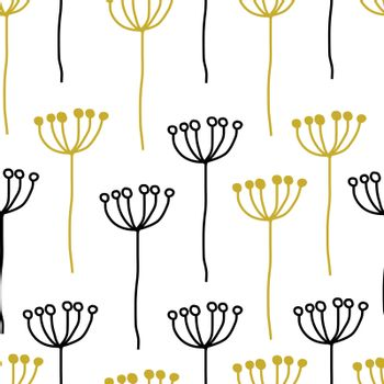Seamless decorative abstract floral pattern of simple plant black, yellow golden on white background. Vintage retro style. Vector design for fabric textile, wallpaper, wrapping paper, package, cover