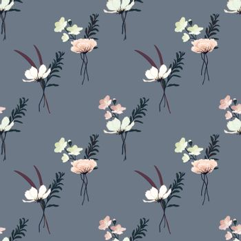 Decorative seamless floral pattern with hand drawn vintage flowers. Wallpaper with lily, camellia rose, sakura cherry blossom, grass and leaves bouquet on grey background, vector eps 10 illustration