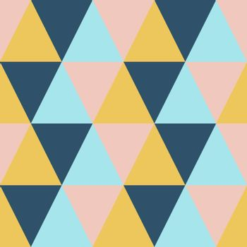 Abstract geometric mosaic triangle seamless pattern. Colorful tile vector retro background illustration in orange, pink, blue and green