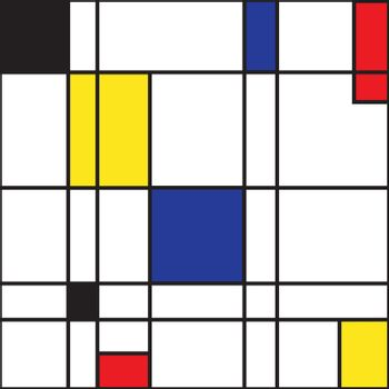 Mondrian seamless pattern. Bauhaus abstract checked geometric style background in blue, red,yellow and black. Colorful vector illustration. Mosaic Piet Mondrian emulation.