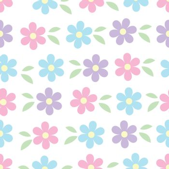 Vector seamless pattern of blue pink and violet simple flowers with green leaves isolated on white. Spring romantic floral texture. For easter, mothers, womens, Wedding day card, texture and fabric.
