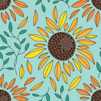 Seamless abstract floral pattern with yellow orange Sunflowers and leaves outlined on blue background. Vintage retro style. Vector design for fabric textile, wallpaper, wrapping paper, package, covers.