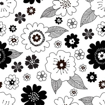 Seamless romantic floral pattern with black and white hand drawn vintage spring flowers with black leaves on white background. Vintage retro style vector design for fabric, wrapping paper, cover.