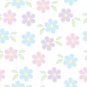 Vector seamless pattern of blue pink and violet forget me not flowers with leaves isolated on white. Spring romantic watercolor floral texture. For easter, mothers, womens, Wedding day card, texture and fabric.