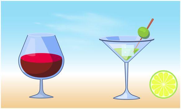 mock up illustration of mocktail glasses on abstract background
