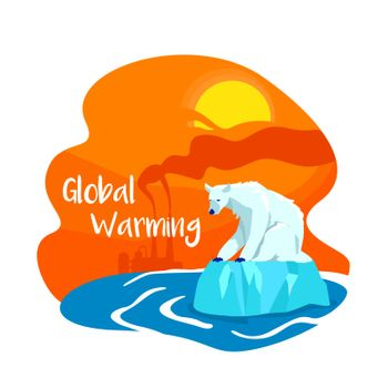 Climate change from pollution 2D vector web banner, poster