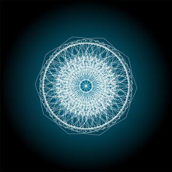 Blue Indian ornament . Mandala guiiloche spirographic elements for design.