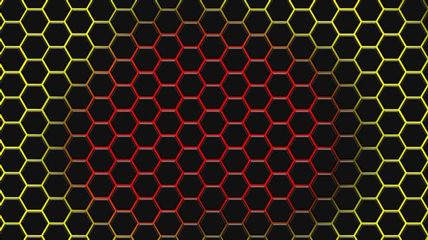 Yellow and red hexagonal texture. Abstract background for design.