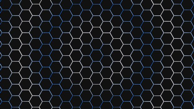 Blue and white hexagonal texture. Abstract background for design.