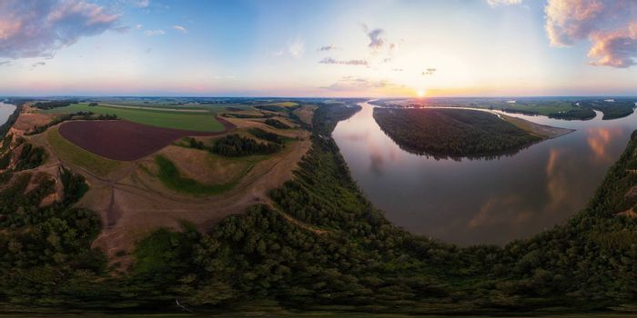 Full 360 equirectangular spherical panorama of Aerial view of Ob siberian river, in summer evening in Altai, drone shot. Virtual reality content