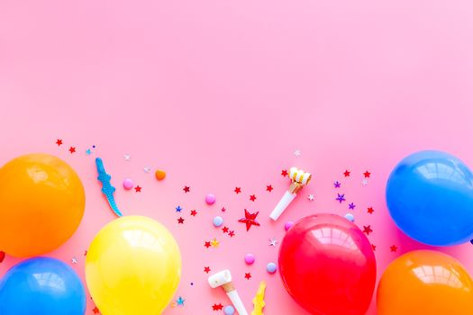 Happy birthday concept. Balloon on pink background top-down copy space