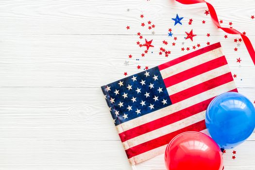 Independence Day greeting card with American flag, balloons flat lay copy space
