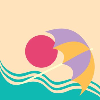 Summer vacation poster concept.. Water slide on the sea beach with beach umbrella.