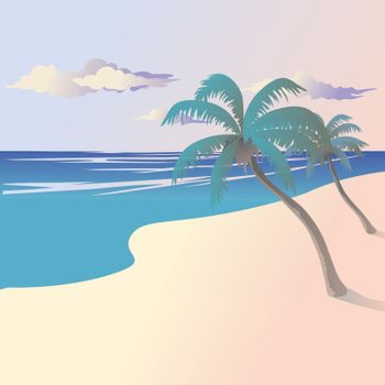 Vector illustration of the landscape of the coast by the sea with palm trees.