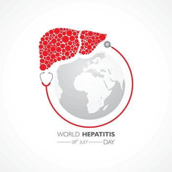 Illustration,poster or banner of World Hepatitis Day observed on 28 July