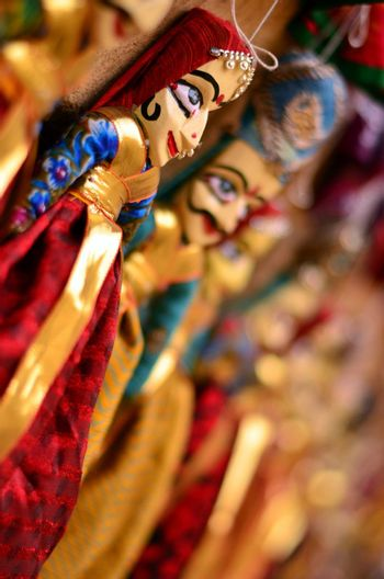 Rajasthani puppets (Kathputli) on display at shop in Mehrangarh Fort in Jodhpur. Kathputli is a string puppet theatre, native to Rajasthan, India, and is the most popular form of Indian puppetry.