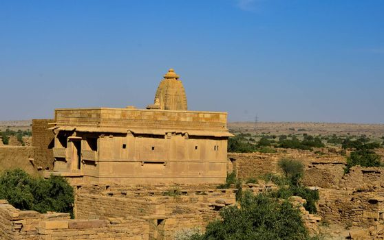 Temple in an abandoned town of Kuldhara near Jaisalmer on the way to Sam Sand Dunes, Rajasthan, India. Established around 13th century, it was once a prosperous village inhabited by Paliwal Brahmins