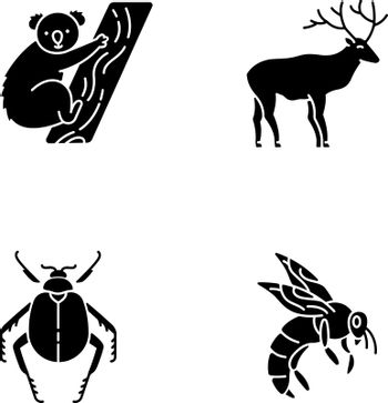 Mammals and insects black glyph icons set on white space