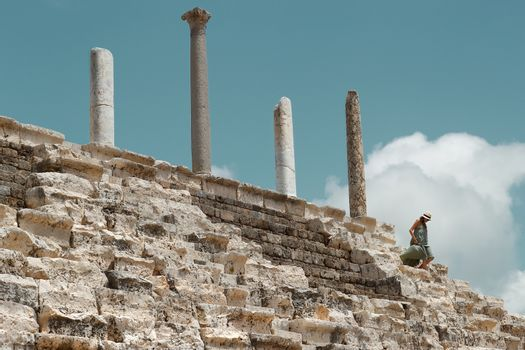 Woman Walking in Ruins of Tyre