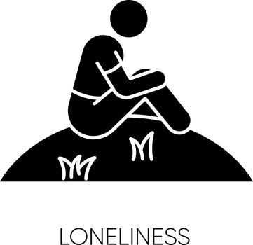 Loneliness black glyph icon
