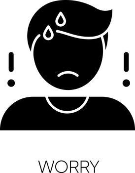 Worry black glyph icon