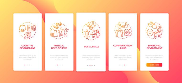 Toddlers preschool education onboarding mobile app page screen with concepts. Interpersonal skills. Walkthrough 5 steps graphic instructions. UI vector template with RGB color illustrations