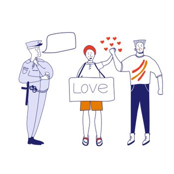 A policeman writes a fine to a couple of gays. A policeman congratulates a couple of men in love. Concept art love card. Vector illustration in cartoon style