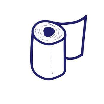 Doodle style toilet roll. illustration with a blue line like ink ballpoint pen