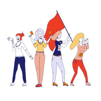Female movements. Two woman empowerment, feminist demonstration, for women political rights. Crowd of protesting women with placards with inscriptions No and Protest. Vector illustration
